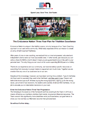 Three Year Plan for Triathlon Excellence