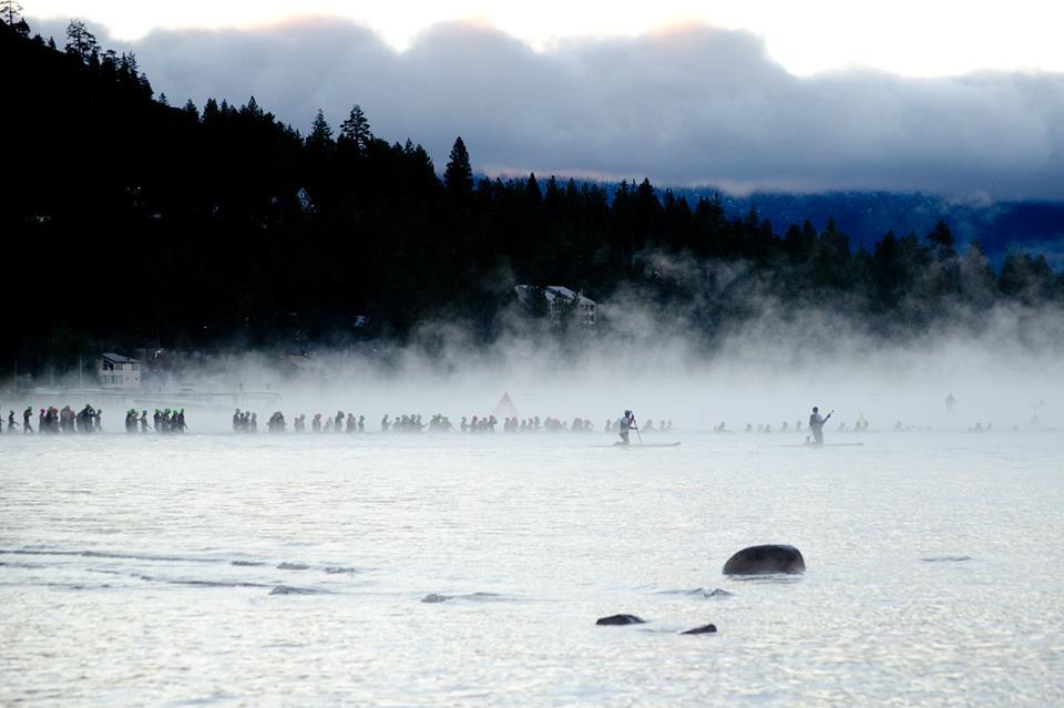 2013 Ironman® Lake Tahoe Swimmers in Fog