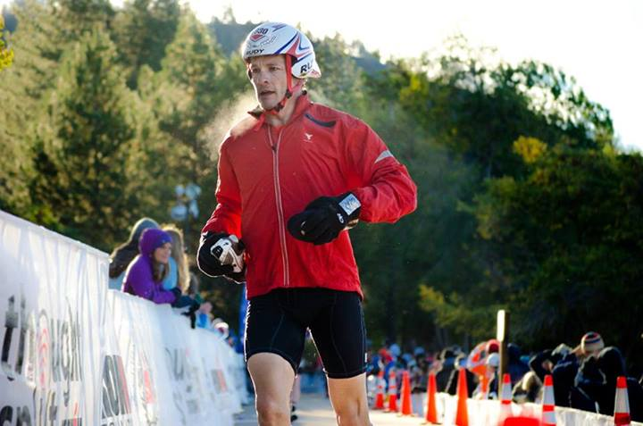 Steve Hall runs to his bike after a cold swim during 2013 Ironman® Lake Tahoe