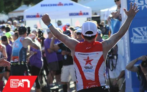 Terry Olivas crosses the Ironman® finish line.
