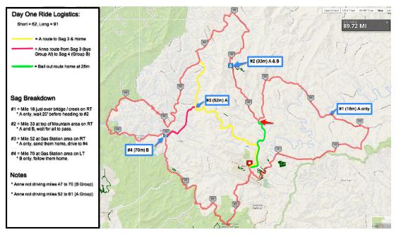 Blue Ridge Day One Ride Map