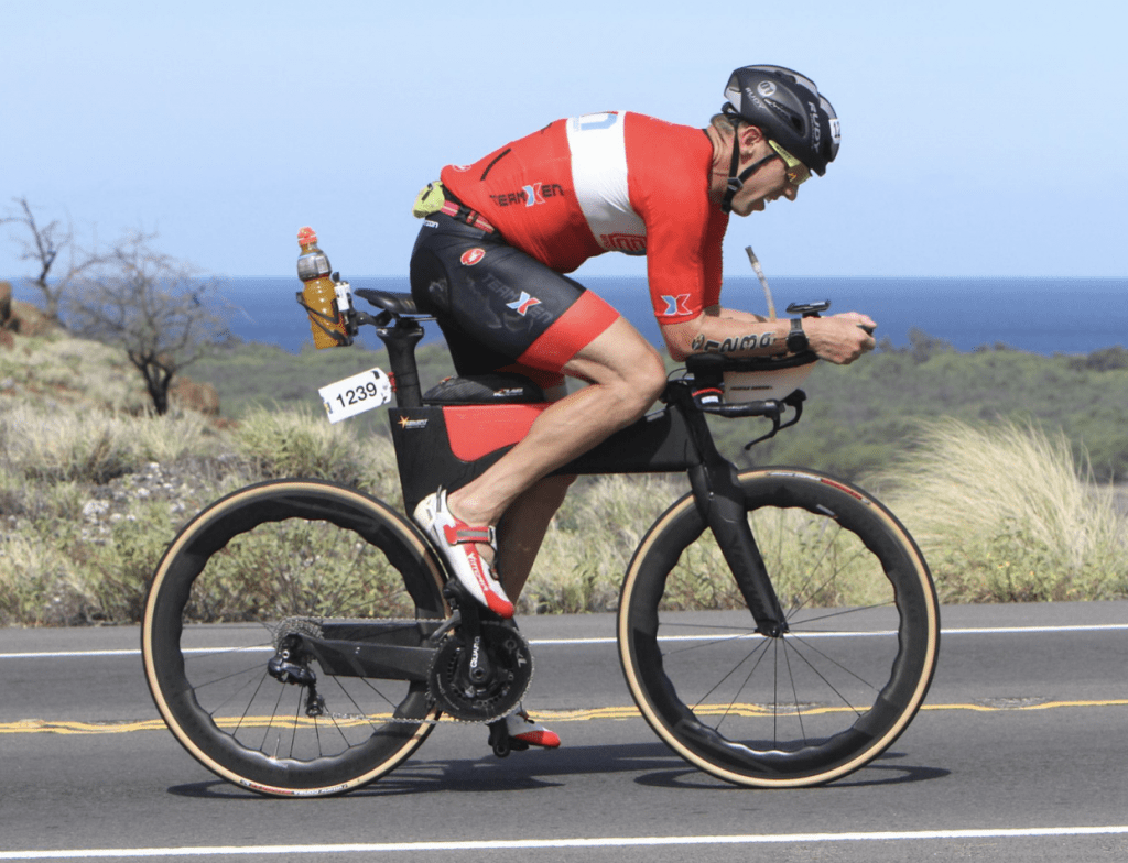 Biking on the Queen K at Ironman Hawaii